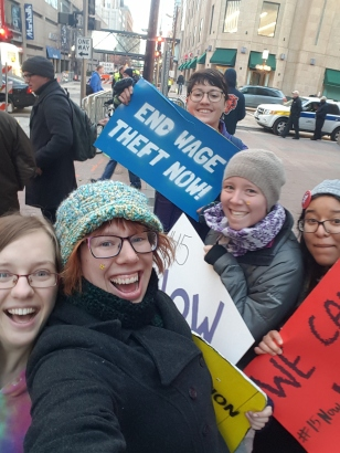 Four St. Joseph Workers marched to Macy's in Downtown Minneapolis, joining students and workers.